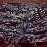MADE TO ORDER Studded back High waisted Denim Shorts Vintage Destroyed diy Cut Off Jeans