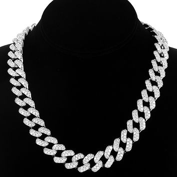 "Men's Iced Out 15mm 24"" Heavy Cuban Choker Necklace"