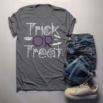 Men's Funny Halloween T Shirt Trick Or Treat Graphic Tee Cool Matching Shirts