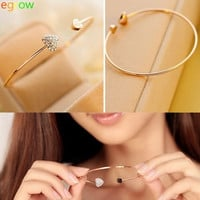 Chic Girl Women Diamante Heart Embellished Sister Cuff Bracelet Gold Tone Bangle  (Color: Gold) = 1843174468