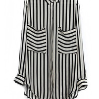 Black Vertical Stripe Long-Sleeve Chiffon Top With Collar