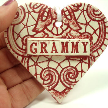 Grammy Heart Ornament, Grammy Valentine, Mother's Day Ornament, Gift for Grammy, Grandmother's Gift, Grammy Birthday, I Love Grammy