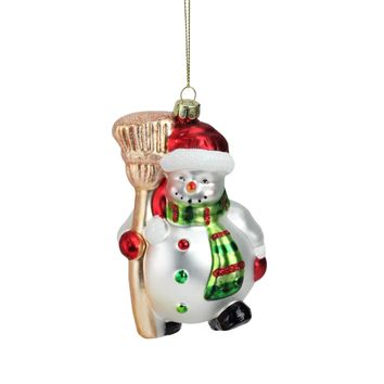 "5"" Portly Smiling Snowman with Broom Glass Christmas Ornament"