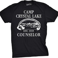 Mens Camp Crystal Lake T shirt Funny Shirts Camping Vintage Horror Novelty Tees