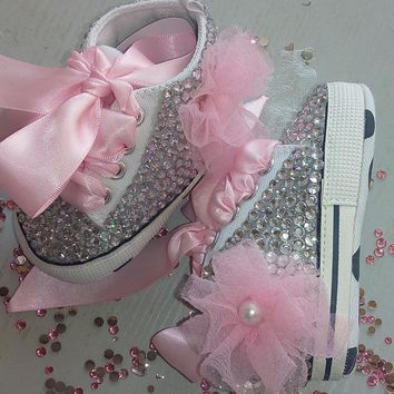 Baby Bling Newborn Infant Baby Girl Pink High Top Tennis Shoe Booties