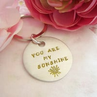 You Are My Sunshine Hand Stamped Keychain Design 3 Yellow