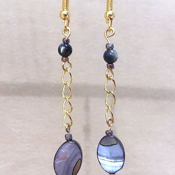 Blue/Gray Oval Shell & Tiger's Eye Beaded Chain Earrings, Handmade Original Design Fashion Jewelry, Classic Simple Beach Style Fun Gift Idea