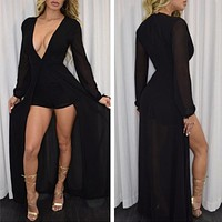 New Fashion Women Red Long Sleeve Deep V Neck Jumpsuits Rompers Flared Short Pants Bodycon Elegant Maxi Bodysuit