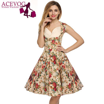ACEVOG Retro Vintage 1950s Lady Elegant Women V-Neck High Waist Sleeveless Casual Party Midi Pleated Dress  Feminino Vestidos