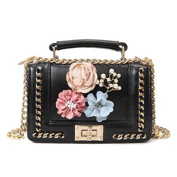 Flower Metal Frame Beaded Chain Shoulder Bag