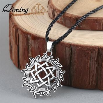 QIMING Alatyr Star Slavic jewelry Sun Symbol Amulet Pendant Norse Occult Pendant Germanic Pagan Men Necklace Ancient Jewelry