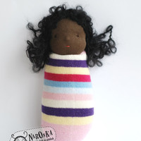 Waldorf doll - Pocket doll - African American - Pink striped socks body - toy for toddlers - sock doll - baby doll