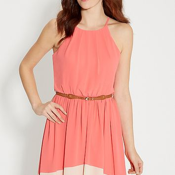 chiffon colorblock dress with braided belt | maurices