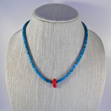 Turquoise & Coral Nugget Heishi Necklace