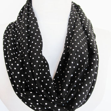 Infinity Cotton Polka Dot Scarf, Circle Scarf, Mother Day Gift, Black - White