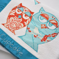 Organic Owl Baby Blanket -- Turquoise and Orange in Toddler Size - Personalized Free