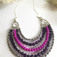 Statement Necklace - Five Tier Necklace - Beaded Bib Necklace - Purple Bib Necklace - Fuchsia Beaded Necklace - Purple Five Tier Necklace