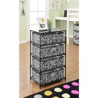 Altra 4-Bin Storage End Table, Black/Zebra - Walmart.com