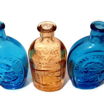 Wheaton NJ Vintage Bottles in Blue and Amber Color