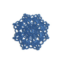 Crochet Coasters Blue Linen,  Table Decor Set of 6, Holiday Table Decor