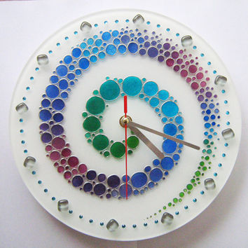 Hand painted glass wall clock, Colorful wall glass clock, the colored bubbles wall clock, glass painting, round clock, painting on glass