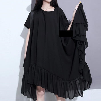 Free shipping ladies fashion summer big size loose dress lotus leaf black irregular chiffon ruffles oversized beauty dresses
