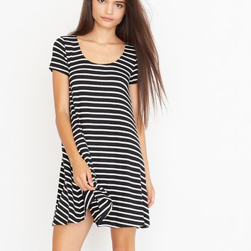 Striped Cap Sleeve Swing Dress