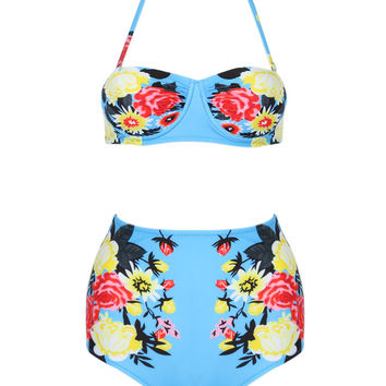 Blue Halter Floral Cupped Bikini Top And High Waist Bottom