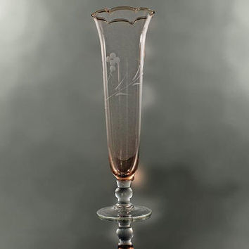Orange Bud Vase Hand Blown Etched Glass With Clear Glass Foot and Stem