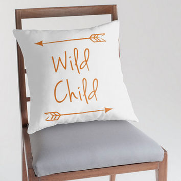 Wild Child Pillow Cover, Customizable Pillow, Woodlland Nursery, Nursery Decor, Arrow Pillow, Rustic Nursery Decor, Quote Pillow