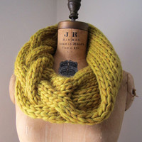 Oversized Cable knit cowl mustard yellow Infinity scarf