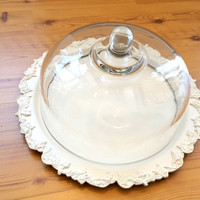 Silver Plate Covered Cake Plate Glass Dome Painted Ivory