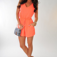 No Ordinary Love Romper: Neon Coral