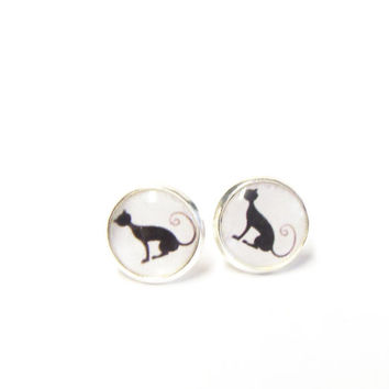 Tiny stud earrings black cat earring studs silver plated post earrings