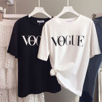 VOGUE letters print short sleeve T-shirt tee top black