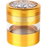 "Large Herb Grinder - Mega Crusher - 2.5"" Clear Top (Gold)"