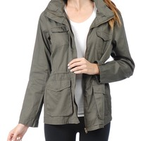 Kogmo Womens Military Anorak Jacket with Hood and Pocket