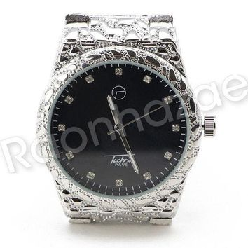ESBONRC Men Iced Out Bling 14K White Gold Plated Hip Hop Nuggets Black Face Watch F20GS