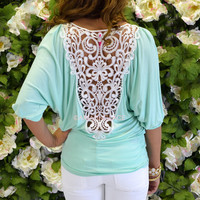Prescott Mint Crochet Lace Back Top