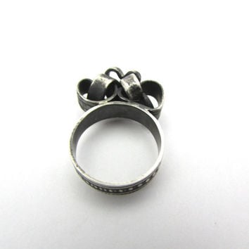 Oxidized Sterling Silver Ring, Interlocking Hearts, Aged Ring, Unique Jewelry, Black Ring, 6.75US