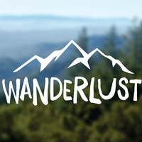 WANDERLUST Decal, Mountains Vinyl Sticker, Car Window Decal, Laptop Decal, Water Bottle Decal, Adventure Decal, Bumper Sticker, Nature Decal