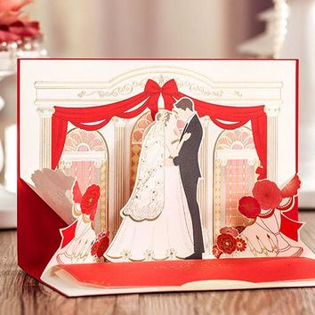 100 Pieces, 3D Classic Red Love Moment Wedding Invitations Cards, By Wishmade, CW6036