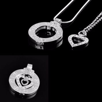 Share Your Love ~ I love U ~ 2 in 1 Pendant Necklace for Couples