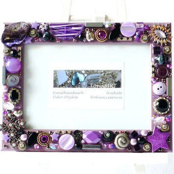 Mosaic Frame, lilac, purple, black, silver, Vintage Wedding, Brooches, Jewelry Photo Frame