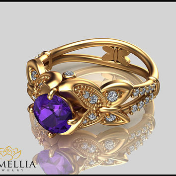 14K Yellow Gold Amethyst Ring,Amethyst Engagement ring,Butterfly Ring,Wedding Ring,Promise Ring,Ladys Jewelry,Unique Ring,Diamond Ring.