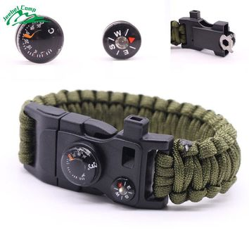 Jeebel 12 in 1 Paracord 550 4mm Rope Survival Bracelet Whistle Kits Outdoor Camping Rescue EDC Bracelets Tactica Cord Bushcraft