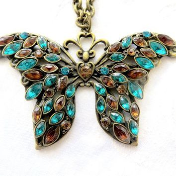 "Rhinestone Butterfly Necklace, Vintage Butterfly Pendant, Teal & Amber Navettes, 30 "" Cable Chain Butterfly Jewelry"