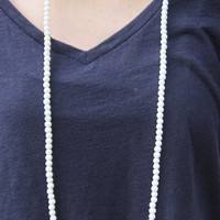 Beaded Double Wrap Necklace- White