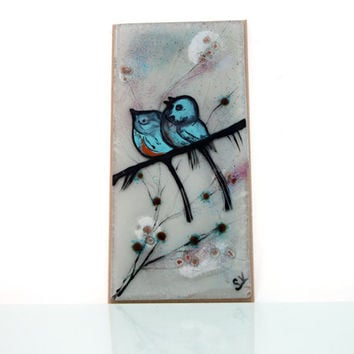 Fused glass painting , blue birds on a branch