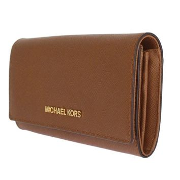 Michael Kors MK Brown JET SET TRAVEL Carryall Leather Wallet Purse Zip Around